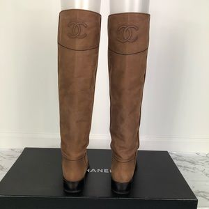 Chanel Suede Leather Riding Boots